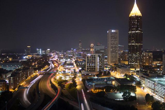 Panorama of Atlanta city at night