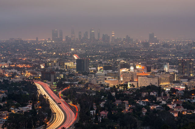 Landscape of Los Angeles at night